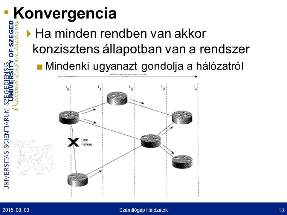 Konvergencia Ha minden rendben van akkor konzisztens állapotban van a rendszer. Mindenki ugyanazt gondolja a hálózatról.