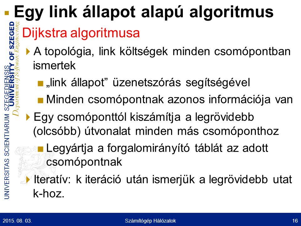 Egy link állapot alapú algoritmus