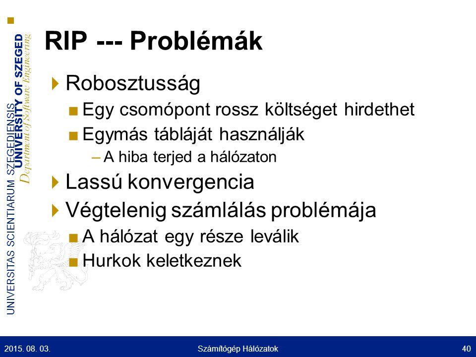 RIP --- Problémák Robosztusság Lassú konvergencia