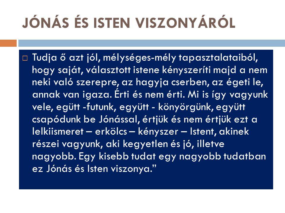 JÓNÁS ÉS ISTEN VISZONYÁRÓL