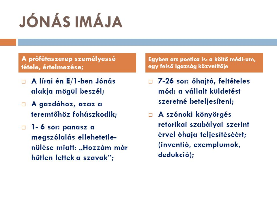 JÓNÁS IMÁJA A lírai én E/1-ben Jónás alakja mögül beszél;
