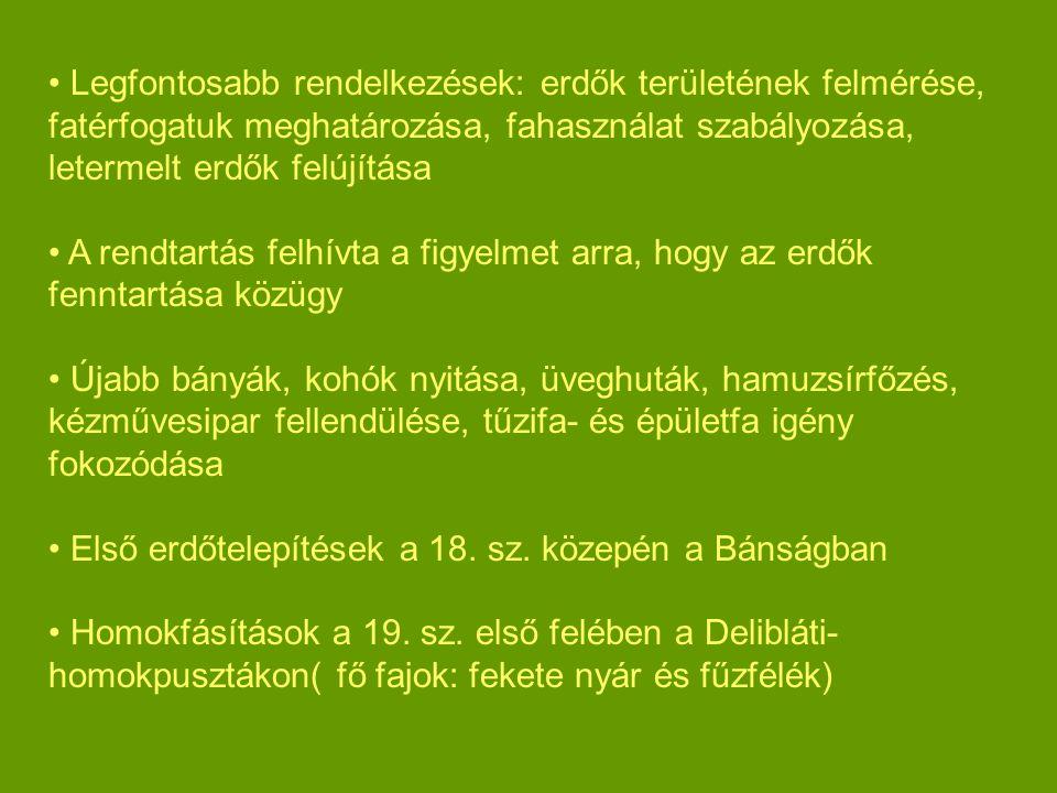 Legfontosabb rendelkezések: erdők területének felmérése, fatérfogatuk meghatározása, fahasználat szabályozása, letermelt erdők felújítása