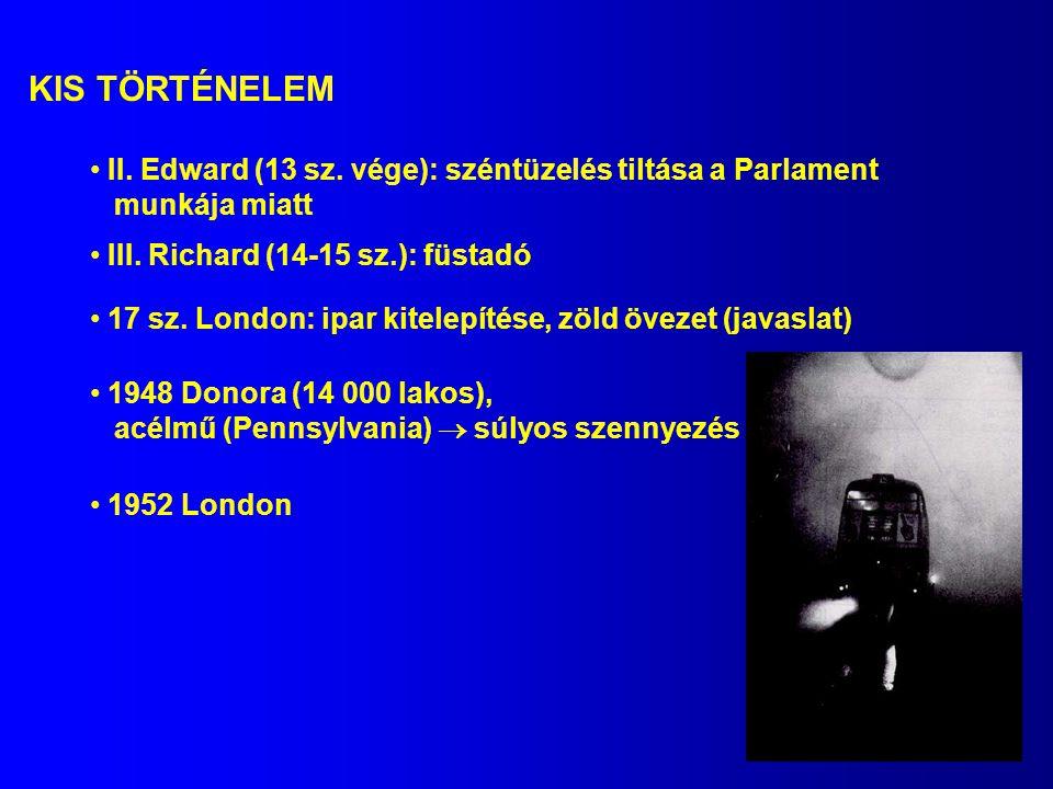 KIS TÖRTÉNELEM II. Edward (13 sz. vége): széntüzelés tiltása a Parlament. munkája miatt. III. Richard (14-15 sz.): füstadó.