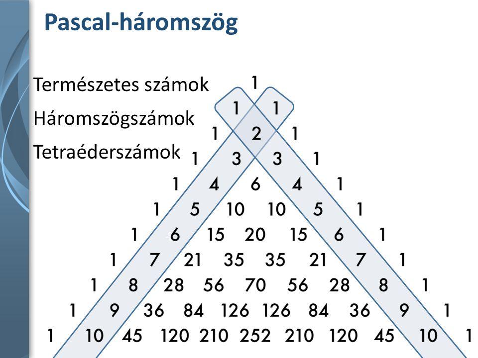 Pascal-háromszög % Természetes számok Háromszögszámok Tetraéderszámok