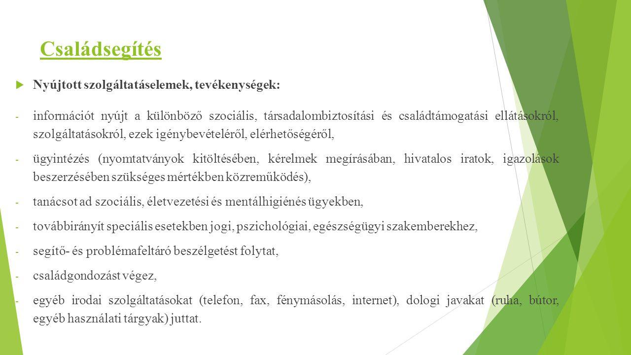 Családsegítés Nyújtott szolgáltatáselemek, tevékenységek:
