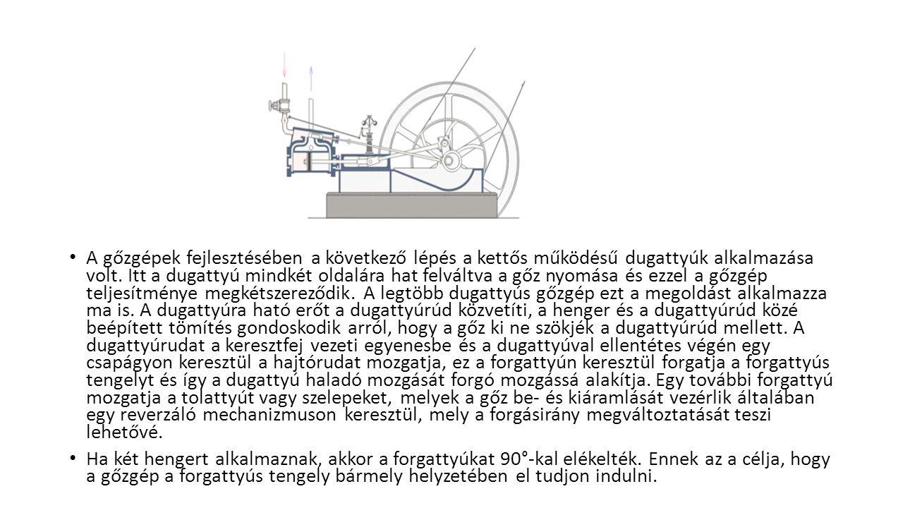 A gőzgépek fejlesztésében a következő lépés a kettős működésű dugattyúk alkalmazása volt. Itt a dugattyú mindkét oldalára hat felváltva a gőz nyomása és ezzel a gőzgép teljesítménye megkétszereződik. A legtöbb dugattyús gőzgép ezt a megoldást alkalmazza ma is. A dugattyúra ható erőt a dugattyúrúd közvetíti, a henger és a dugattyúrúd közé beépített tömítés gondoskodik arról, hogy a gőz ki ne szökjék a dugattyúrúd mellett. A dugattyúrudat a keresztfej vezeti egyenesbe és a dugattyúval ellentétes végén egy csapágyon keresztül a hajtórudat mozgatja, ez a forgattyún keresztül forgatja a forgattyús tengelyt és így a dugattyú haladó mozgását forgó mozgássá alakítja. Egy további forgattyú mozgatja a tolattyút vagy szelepeket, melyek a gőz be- és kiáramlását vezérlik általában egy reverzáló mechanizmuson keresztül, mely a forgásirány megváltoztatását teszi lehetővé.