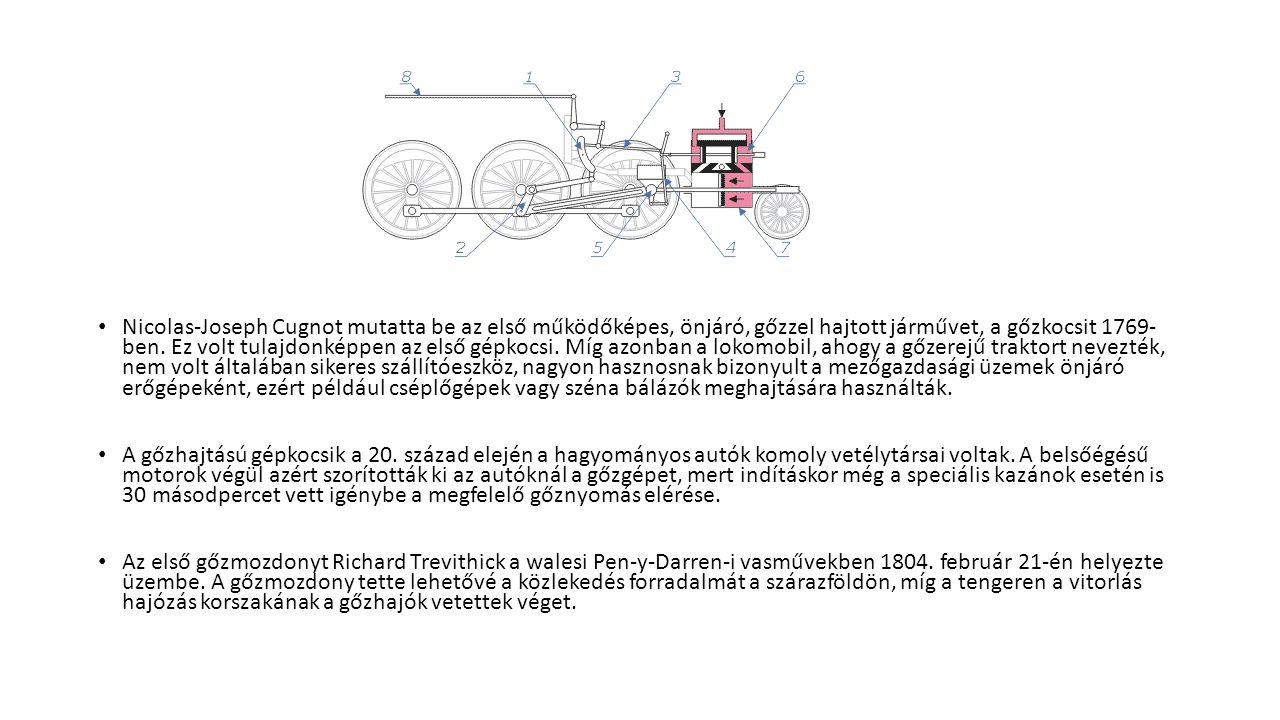 Nicolas-Joseph Cugnot mutatta be az első működőképes, önjáró, gőzzel hajtott járművet, a gőzkocsit 1769- ben. Ez volt tulajdonképpen az első gépkocsi. Míg azonban a lokomobil, ahogy a gőzerejű traktort nevezték, nem volt általában sikeres szállítóeszköz, nagyon hasznosnak bizonyult a mezőgazdasági üzemek önjáró erőgépeként, ezért például cséplőgépek vagy széna bálázók meghajtására használták.