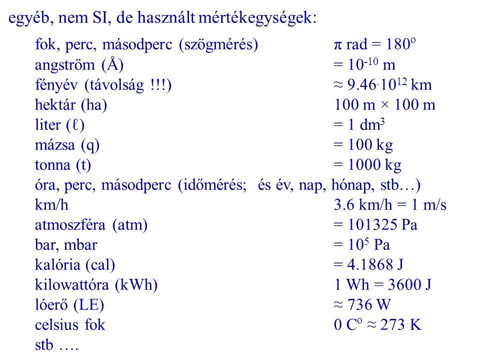 egyéb, nem SI, de használt mértékegységek: