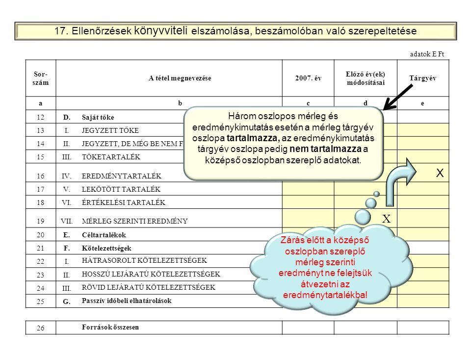 17. Ellenőrzések könyvviteli elszámolása, beszámolóban való szerepeltetése