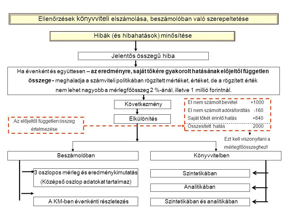 Ellenőrzések könyvviteli elszámolása, beszámolóban való szerepeltetése
