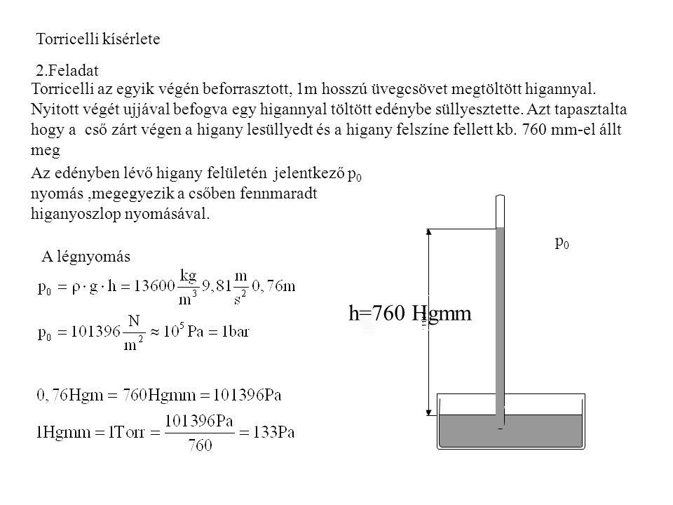 h=760 Hgmm Torricelli kísérlete 2.Feladat