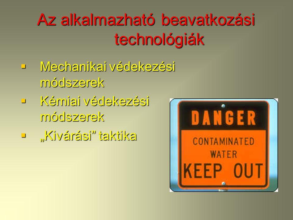Az alkalmazható beavatkozási technológiák