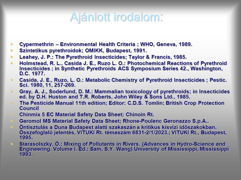 Ajánlott irodalom: Cypermethrin – Environmental Health Criteria ; WHO, Geneva, 1989. Szintetikus pyrethroidok; OMIKK, Budapest, 1991.