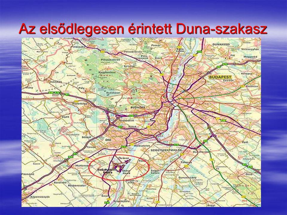 Az elsődlegesen érintett Duna-szakasz