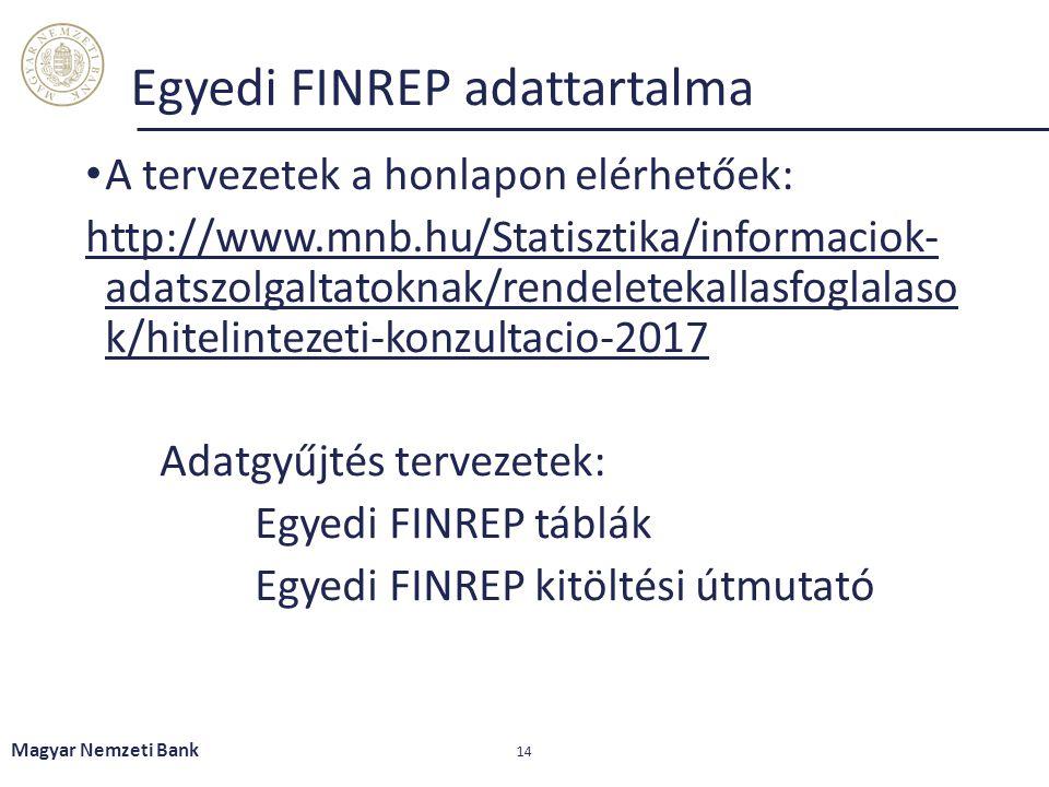 Egyedi FINREP adattartalma