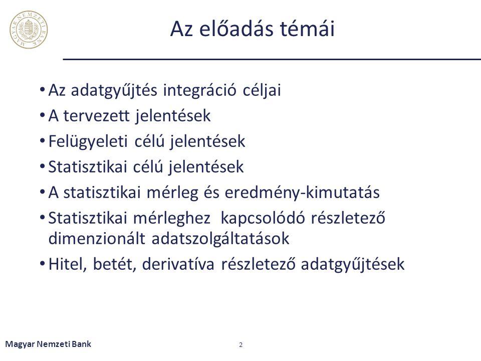 Az előadás témái Az adatgyűjtés integráció céljai