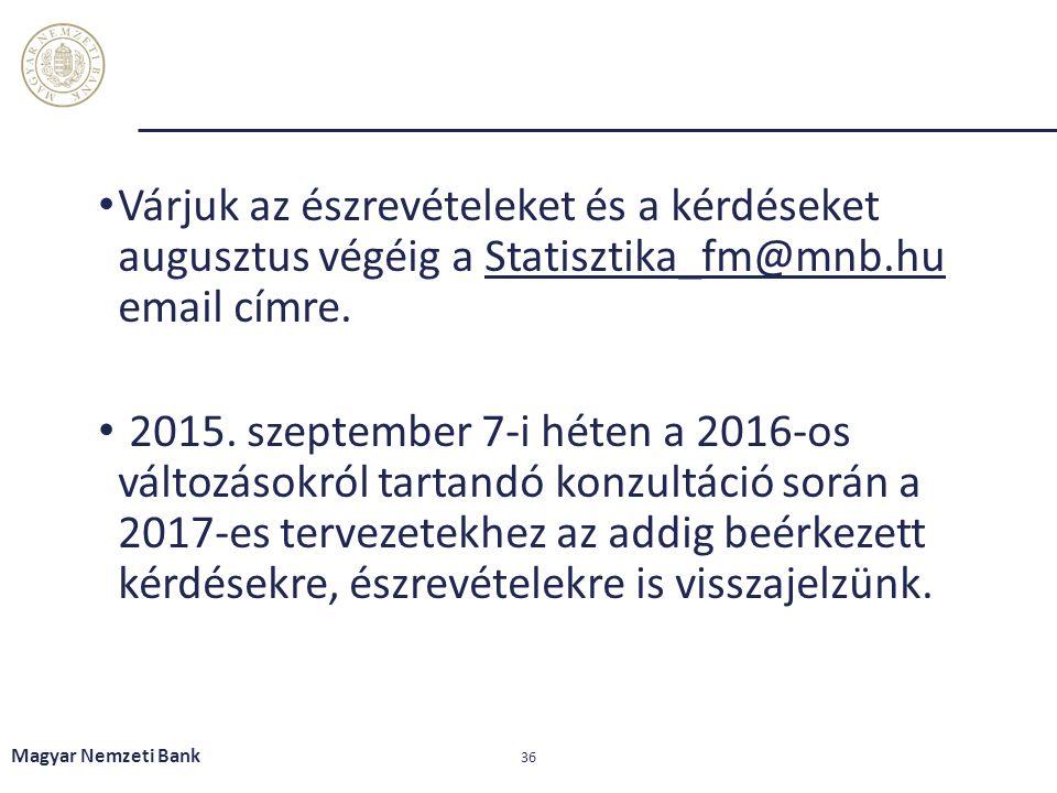 Várjuk az észrevételeket és a kérdéseket augusztus végéig a Statisztika_fm@mnb.hu email címre.