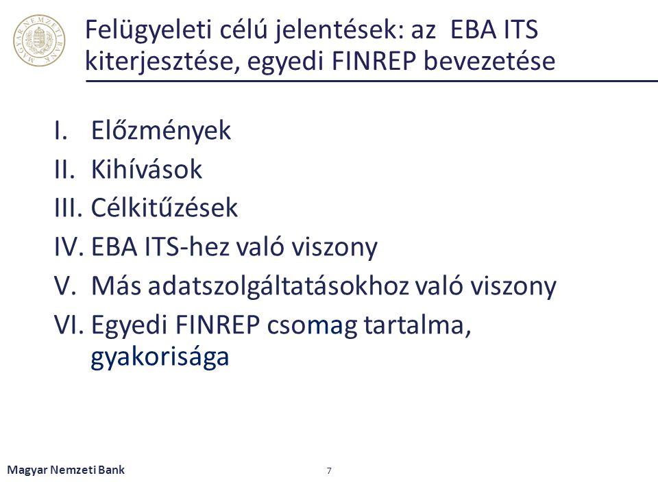 EBA ITS-hez való viszony Más adatszolgáltatásokhoz való viszony