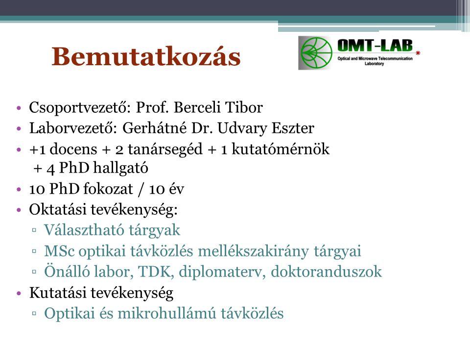 Bemutatkozás Csoportvezető: Prof. Berceli Tibor