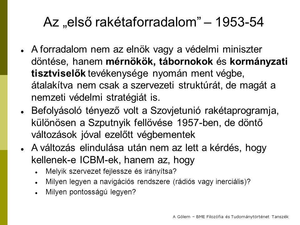 """Az """"első rakétaforradalom – 1953-54"""
