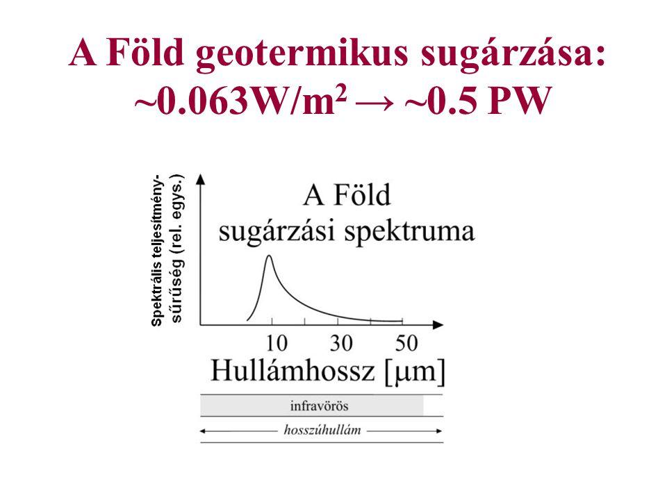 A Föld geotermikus sugárzása: ~0.063W/m2 → ~0.5 PW