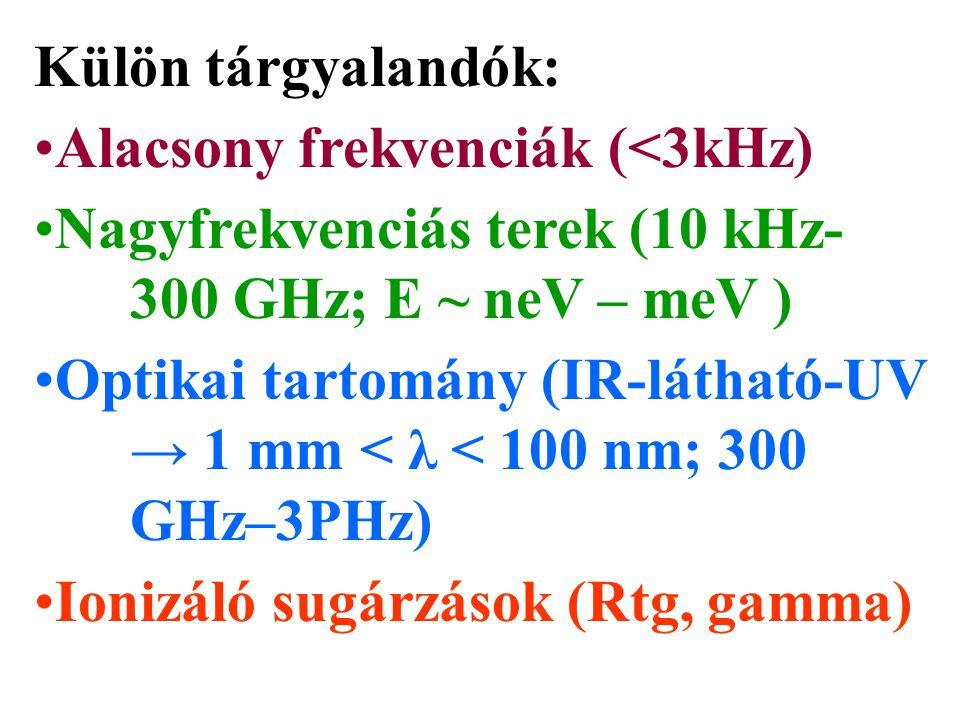 Külön tárgyalandók: Alacsony frekvenciák (<3kHz) Nagyfrekvenciás terek (10 kHz- 300 GHz; E ~ neV – meV )