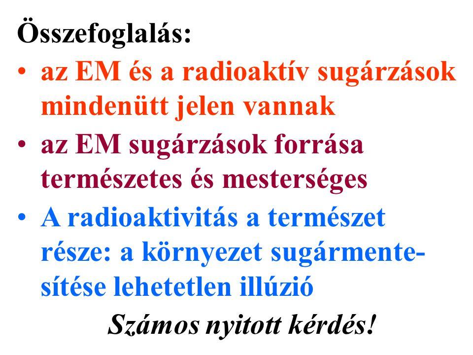 Összefoglalás: az EM és a radioaktív sugárzások mindenütt jelen vannak. az EM sugárzások forrása természetes és mesterséges.