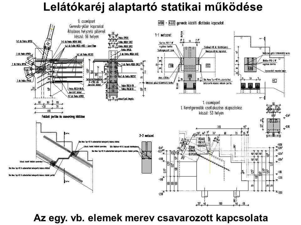 Lelátókaréj alaptartó statikai működése