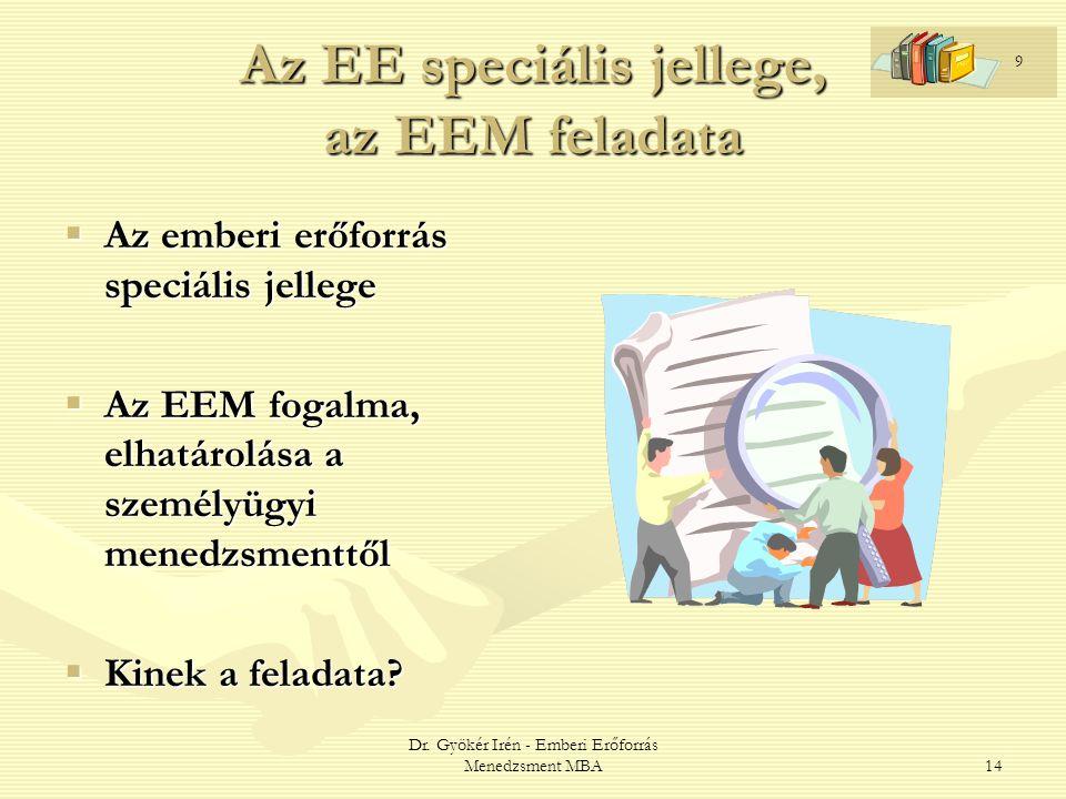 Az EE speciális jellege, az EEM feladata