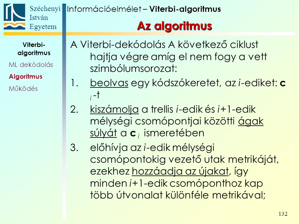 Információelmélet – Viterbi-algoritmus