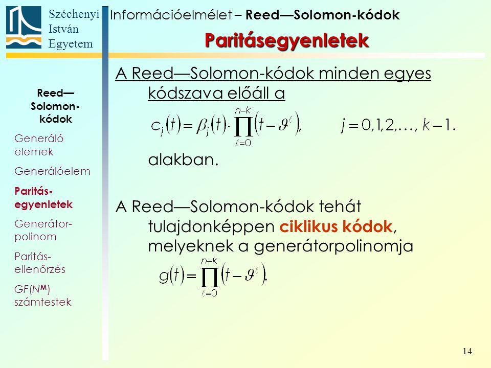 Paritásegyenletek A Reed—Solomon-kódok minden egyes kódszava előáll a