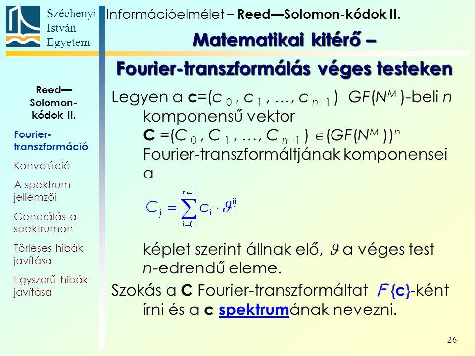 Matematikai kitérő – Fourier-transzformálás véges testeken
