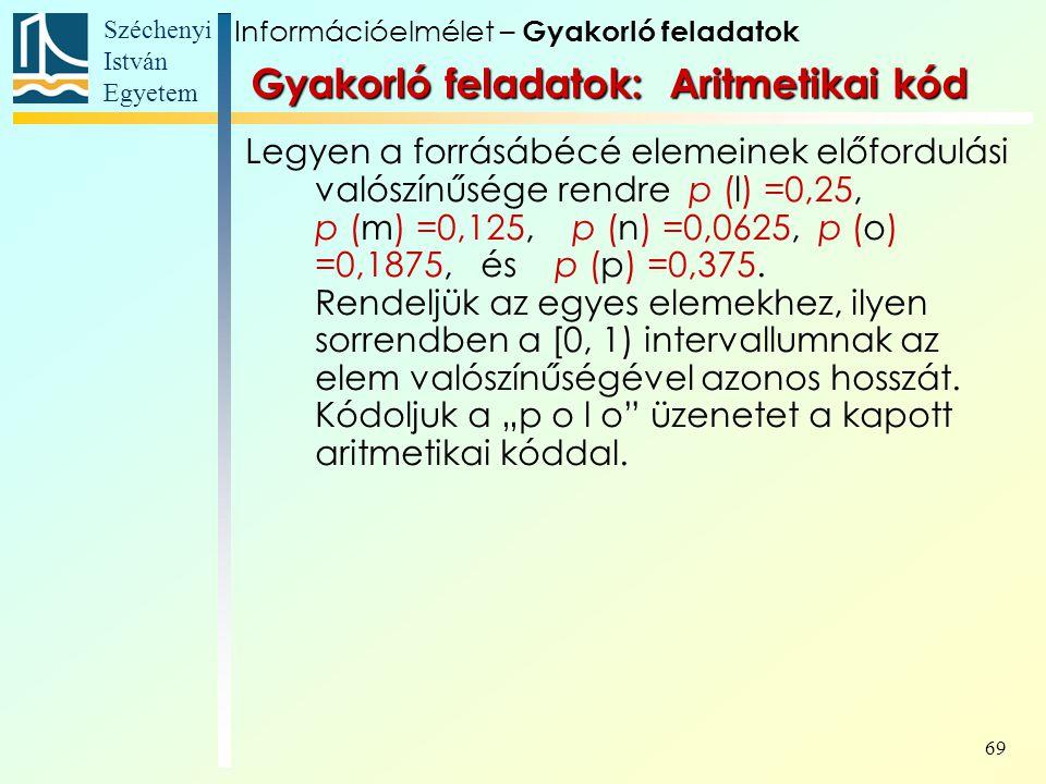 Gyakorló feladatok: Aritmetikai kód
