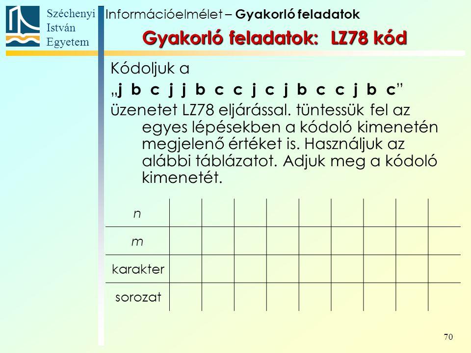 Gyakorló feladatok: LZ78 kód