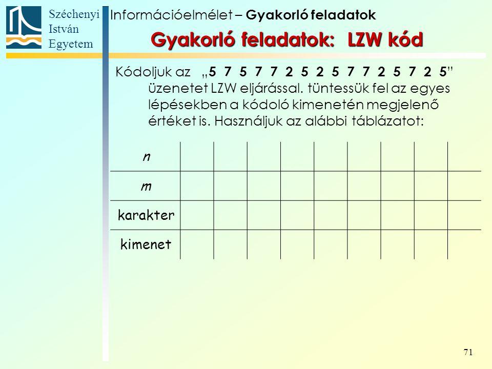 Gyakorló feladatok: LZW kód