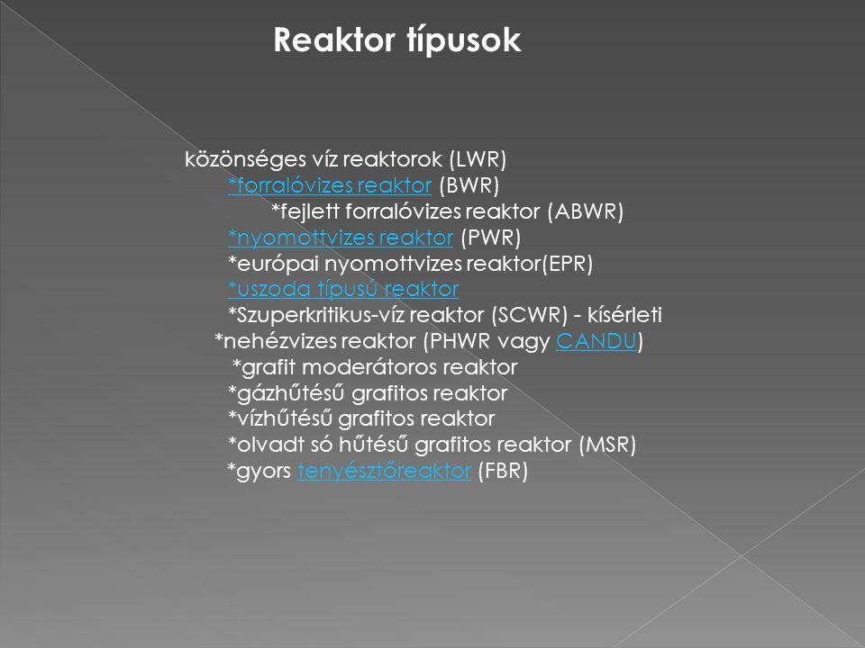 Reaktor típusok közönséges víz reaktorok (LWR)
