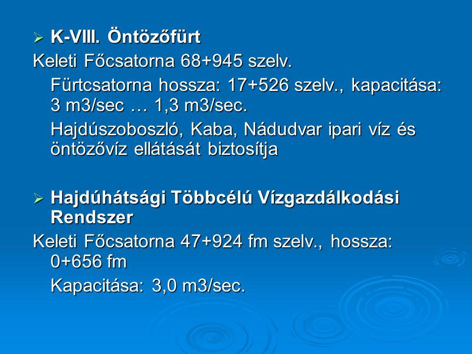 K-VIII. Öntözőfürt Keleti Főcsatorna 68+945 szelv. Fürtcsatorna hossza: 17+526 szelv., kapacitása: 3 m3/sec … 1,3 m3/sec.