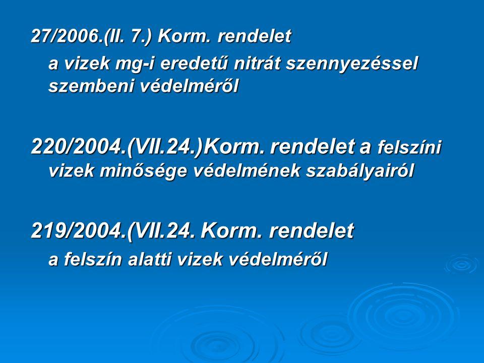 27/2006.(II. 7.) Korm. rendelet a vizek mg-i eredetű nitrát szennyezéssel szembeni védelméről.