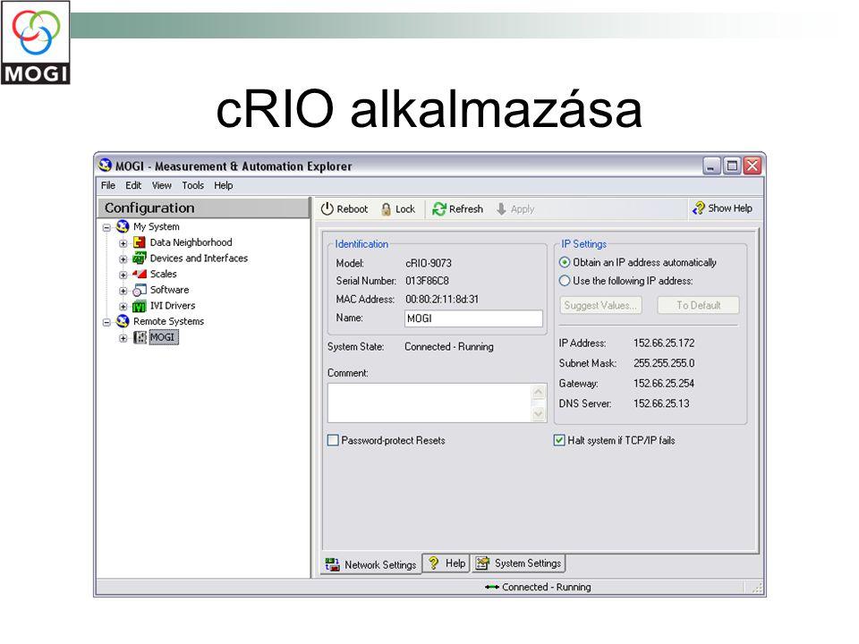 cRIO alkalmazása