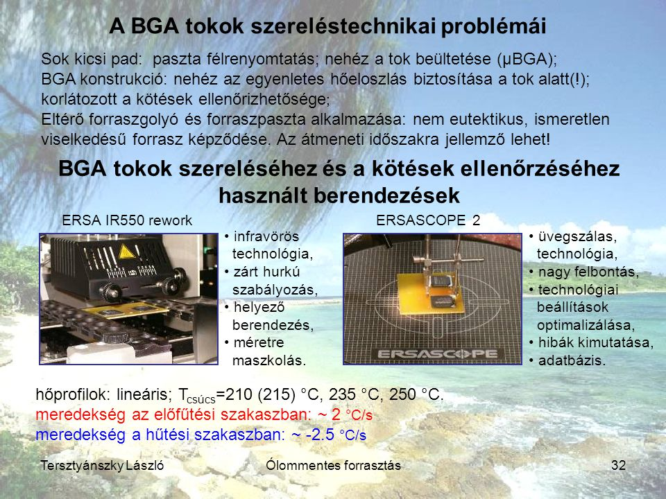A BGA tokok szereléstechnikai problémái