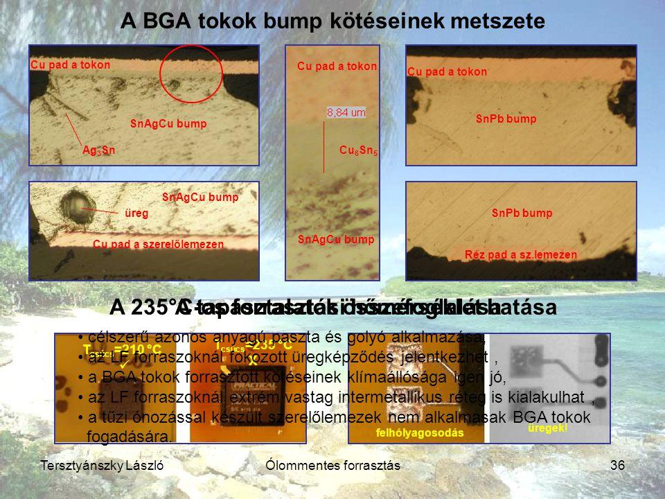 A BGA tokok bump kötéseinek metszete