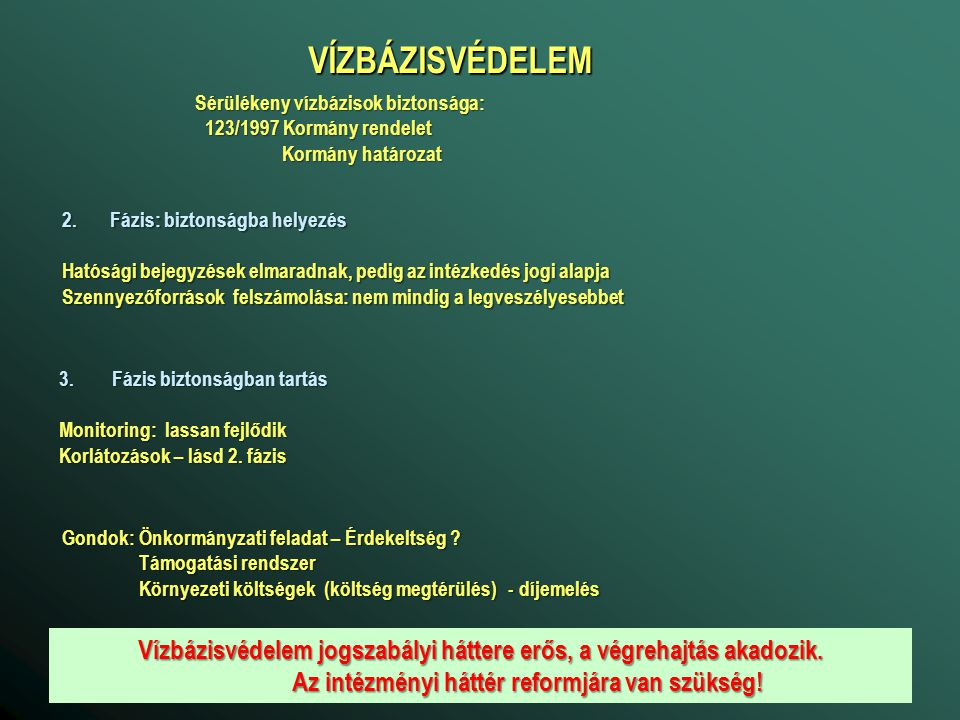 VÍZBÁZISVÉDELEM Sérülékeny vízbázisok biztonsága: 123/1997 Kormány rendelet. Kormány határozat. Fázis: biztonságba helyezés.