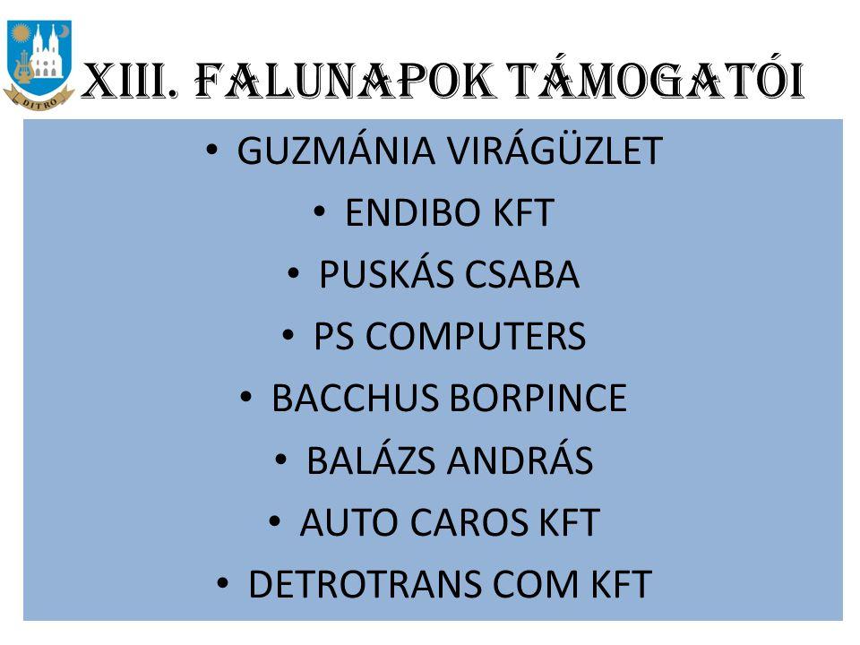 XIII. FALUNAPOK TÁMOGATÓI