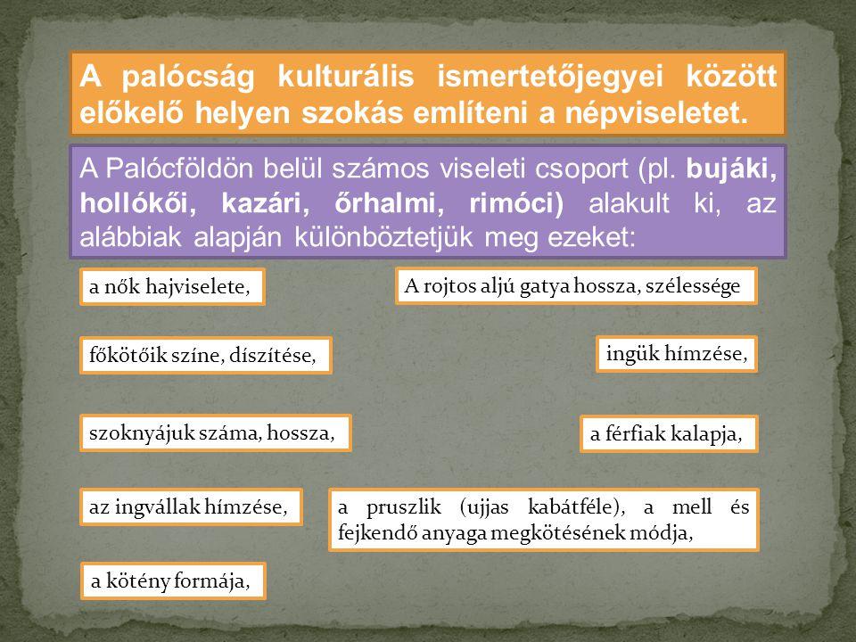 A palócság kulturális ismertetőjegyei között előkelő helyen szokás említeni a népviseletet.