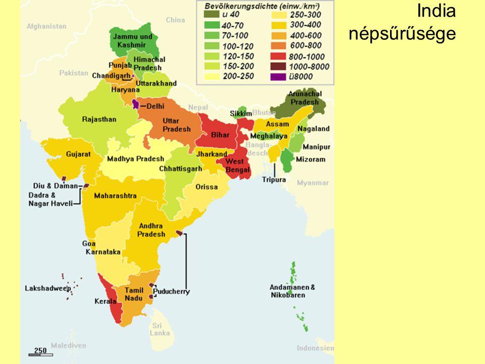 India népsűrűsége