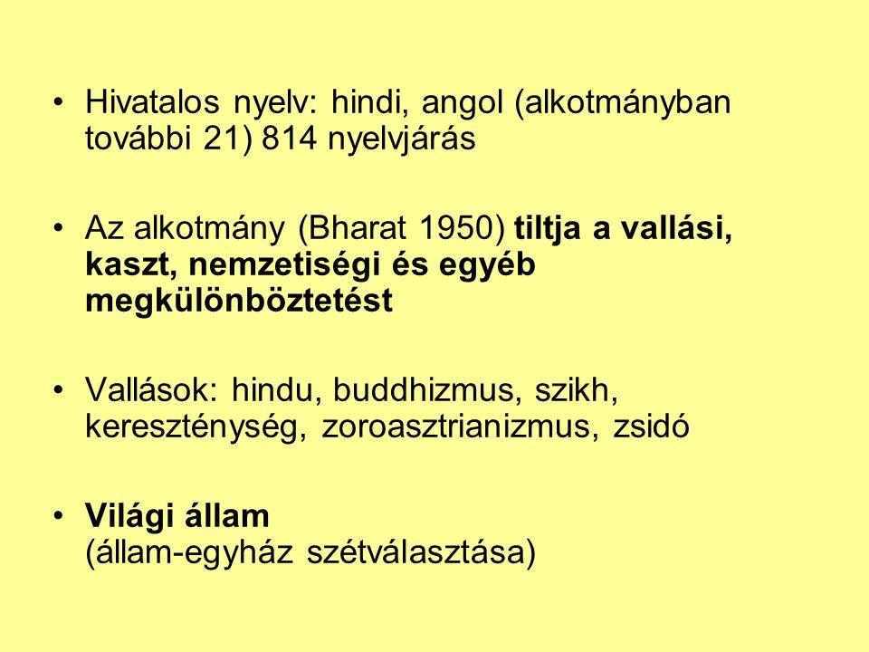 Hivatalos nyelv: hindi, angol (alkotmányban további 21) 814 nyelvjárás