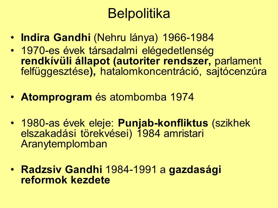 Belpolitika Indira Gandhi (Nehru lánya) 1966-1984