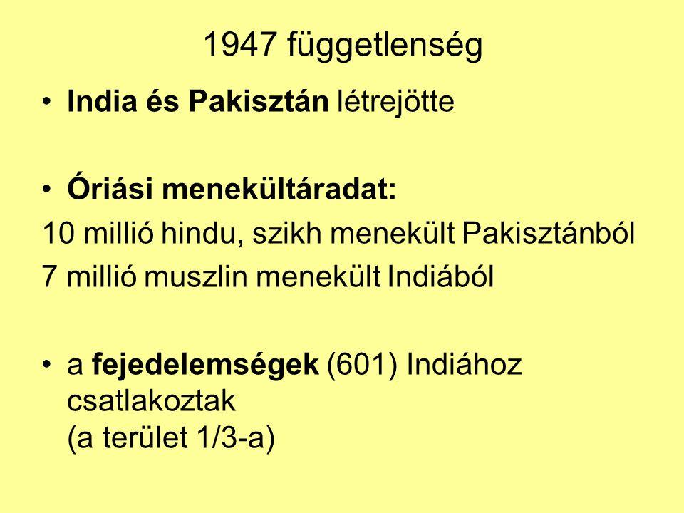 1947 függetlenség India és Pakisztán létrejötte Óriási menekültáradat: