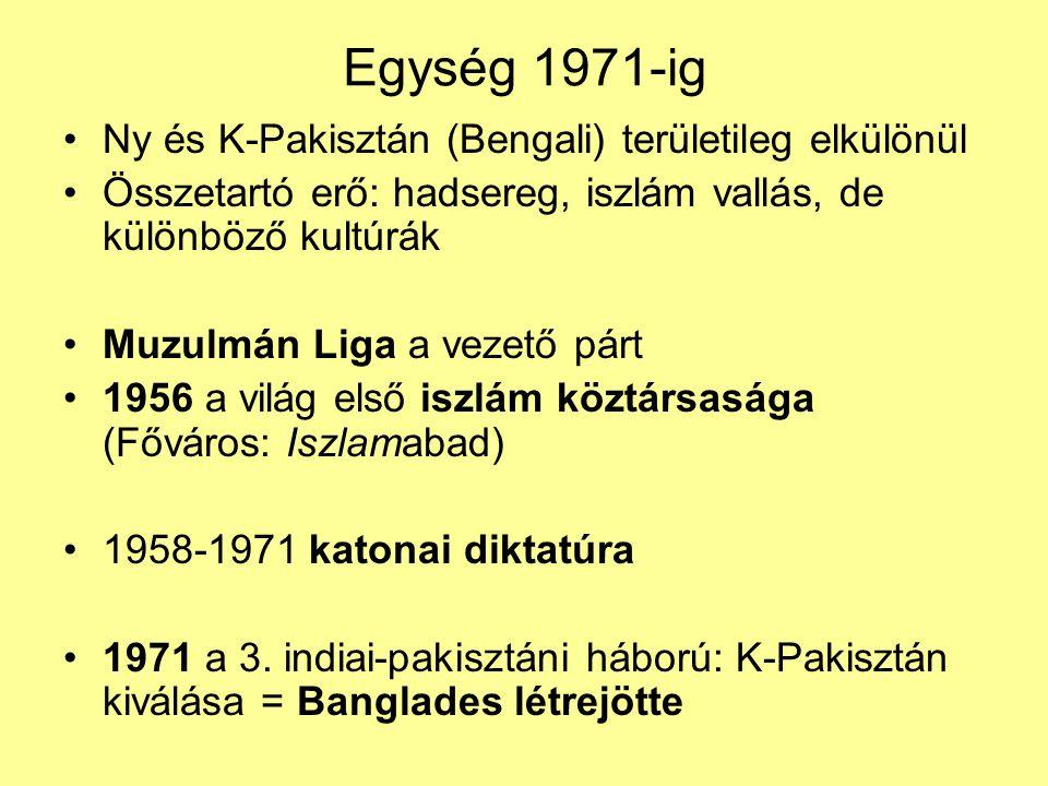 Egység 1971-ig Ny és K-Pakisztán (Bengali) területileg elkülönül