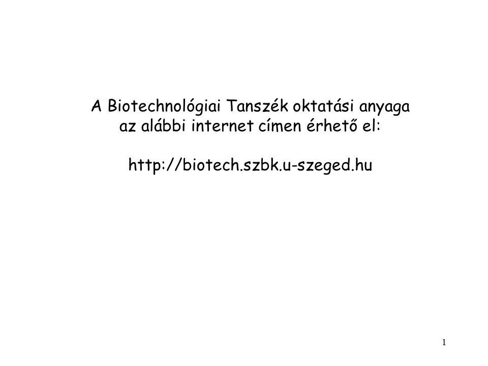 A Biotechnológiai Tanszék oktatási anyaga